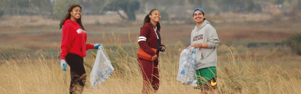 Students cleaning up Baylands